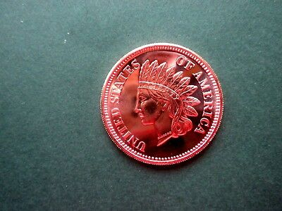 """INDIAN HEAD CENT - """"Old Eagle back"""" 1oz Copper Round #2"""