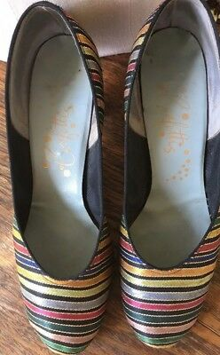 """Pair Of Vintage 40""""s Striped Brocade Evening Pumps- Size 8"""