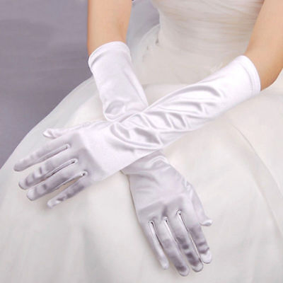White Ladies Long Finger Gloves 20/30S Elegant Fancy Party Dress Evening Wedding