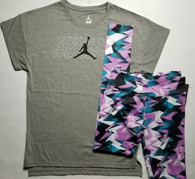 Nike Air Jordan Girls 2 PC Set Shirt Tee & Legging Outfit Size Large