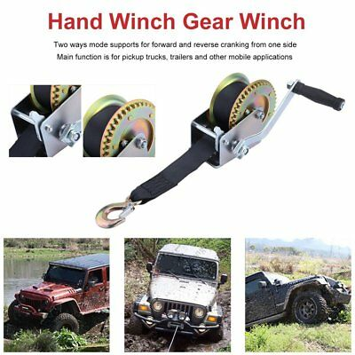 1200LBS Hand Winch Synthetic Strap 2 Way Manual Car Boat Trailer 4WD