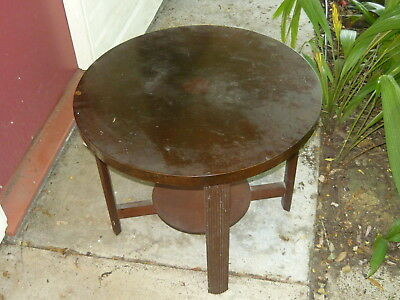 1930s Marquetry Veneer Round Coffee Table Vintage Antique Occasional Side Table