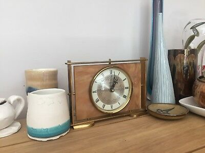 Vintage Smiths Electronic Tuning Fork Hummer Mantle Clock Marble & Brass Working