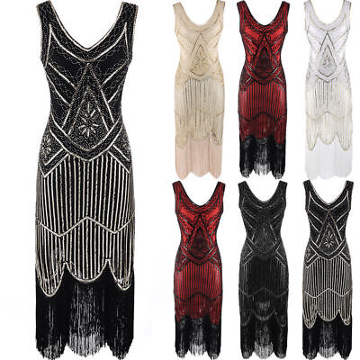 Gold Ladies 1920s Roaring 20s Flapper Costume Sequin Gatsby Outfit Dress Up