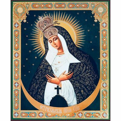 "Our Lady of Ostrabrama Large Icon Gold Silver Foil Mounted on Wood 11 1/2""x9 1/2"