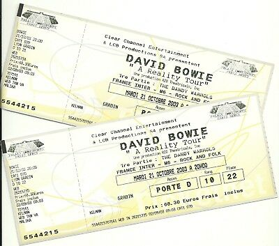 David Bowie tickets A Reality Tour Paris 2003