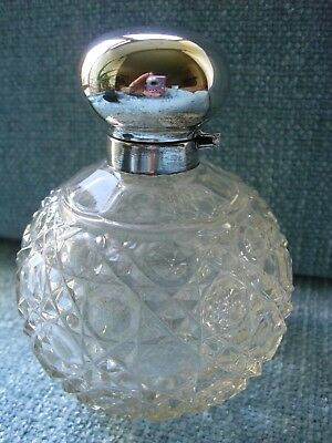Antique Glass Perfume Bottle with glass stopper and Silver Hinged Top.