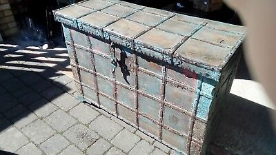 Large early 20th century Indian hand painted trunk storage chest FINAL REDUCTION