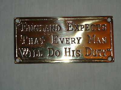 Brass Plaque Words Of Nelson -England Expects That Every Man Will Do His Duty