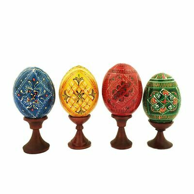 Set of 4 Pysanky Easter Eggs on Wooden Stand - Red Yellow Green and Blue Colo