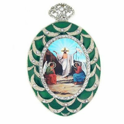 Resurrection of Christ Icon Wall Pendant Decoration Green Frame Orthodox Icon