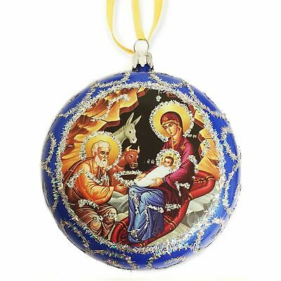Blue Religious Christmas Ornament Traditional Byzantine Icon of the Nativity 4