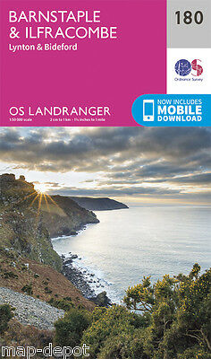 BARNSTAPLE & ILFRACOMBE LANDRANGER MAP 180 - Ordnance Survey - OS - NEW 2016