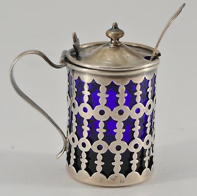 ANTIQUE STERLING SILVER MUSTARD POT JAR & SPOON with COBALT BLUE GLASS LINER