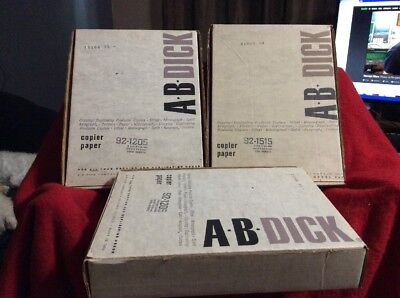 "AB Dick Mimeograph Duplicating Paper 1000 5"" 1/2 X 8 1/2 & 500  8"" 1/2 X 11"""