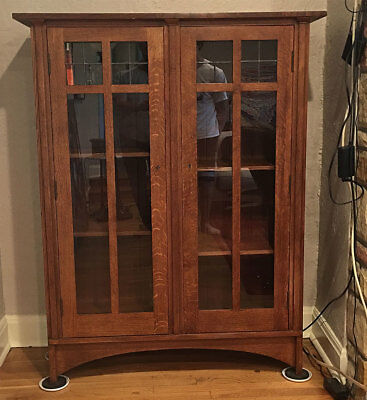 Stickley  Mission Oak Arts Crafts Bookcase Leaded Glass 45.75w58h14d