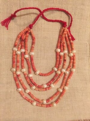 Coral Necklace With Pearls In Ukrainian Style