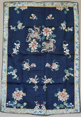 Chinese Blue Ground Silk Embroidery Panel, Florals and Moths.
