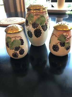 Antique Bavaria Hand Painted Salt & Pepper +  Muffineer Sugar Shakers
