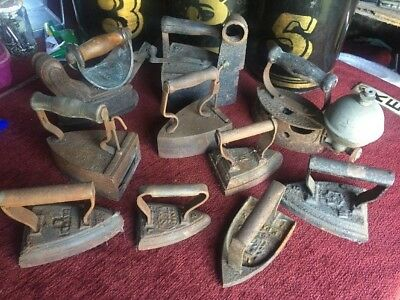 10 Antique cast iron flat sad iron French English