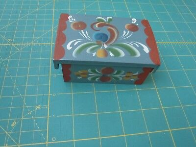 Norwegian-Rosemaling-Trinket-Trunk Box-With-Hinge-Blue-Base-Made-in-Norway