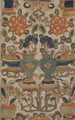 A Pair of Embroidered Chinese Sleeve Bands, Antiquities and Bhuddist Symbols