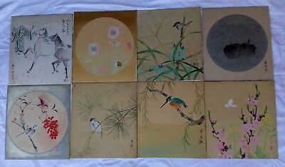 8 Vintage Chinese Ink Painting on Silk Flower Horse Bird Fruit Signed As is