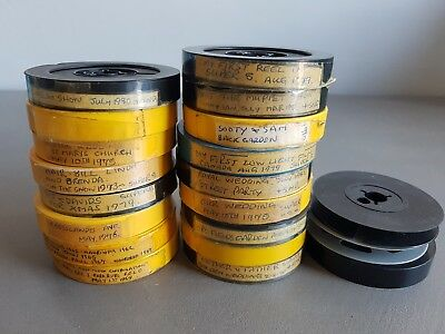 Joblot of 17 8mm projector home movies, various occasions etc. Plus spare reels.