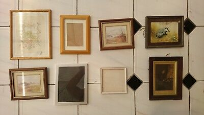 JobLot of 8 Mixed Antique Vintage Retro Modern Picture Photo Frames - WITH GLASS