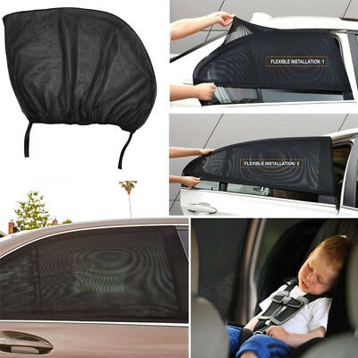 2x Stretchable Mesh Universal Car Sun Shades for Rear Side Window UV Shield Net