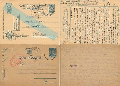Romania 1942, Unchecked Lot Of 2 Wwii Censored Stationery Cards.   #d1520