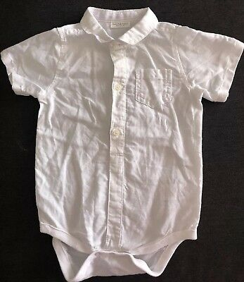 Next Baby Boy 12-18 Months Linen Blend white Shirt / Body Suit - exc condition
