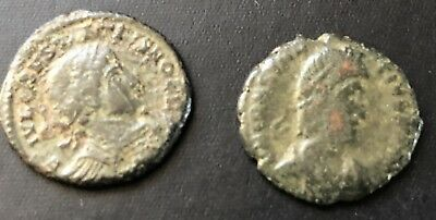 Lot of 2 Sharp Ancient Roman Coins! Authentic coins 17 mm 18 mm. 18 and 25 grams