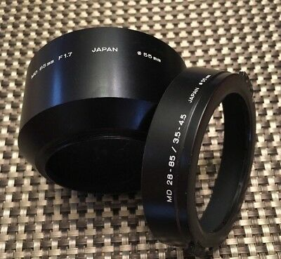 Minolta Metal Hoods MD 85mm F1.7  55mm diameter & MD 28-85/3.5-4.5 55mm diameter