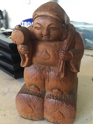 Vintage Hand Carved Wood Asian Figure Statue w/ Mallet & Sack