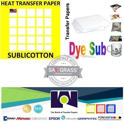 COMBO 100 Sh Dye Sublimation Transfer paper +  10 Sh SUBLICOTTON 8.5x11