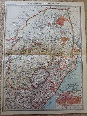 South Africa Map. Print of NATAL, TRANSVAAL AND ORANGE RIVER COLONY.