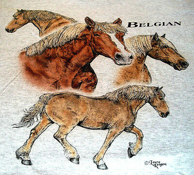 "Belgian Horse T-shirt "" White "" Large ( 42 ~ 44 )"
