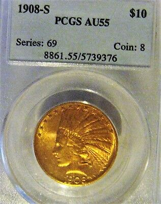1908-S $10 Gold Indian Eagle!! Pcgs Au55! Rare Key Date, Only 59,850 Minted!!