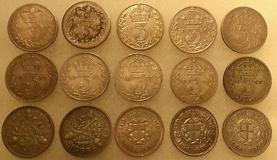 Lot (15) Silver Threepence Coins Great Britain (1866-1941)