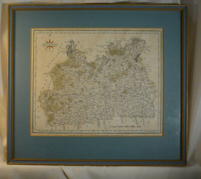 Surrey Antique County Map Engraving Pubd by J Cary 1787 Strand London Framed 14""