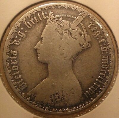 1877 Silver Gothic One Florin Great Britain