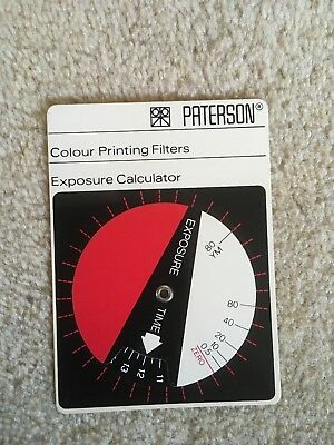 Vintage Photographic PATERSON Colour Printing Filters Exposure Calculator