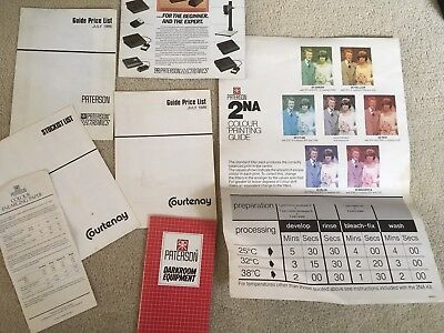 Vintage 1986 Paterson Photographic Leaflets And 2NA Colour Printing Guide Poster