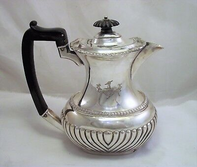 Victorian Silver Plated Hot Water Jug - Mappin And Webb 'ne Cede Arduis' Crest