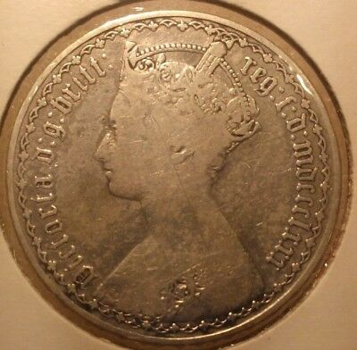 1880 Silver Gothic One Florin Great Britain