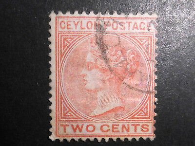 Briefmarken Ceylon, Two Cents, gestempelte Marke