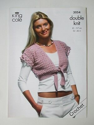 King Cole Crochet Pattern 3474 Ladys Tunic Cardigan With Collar