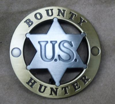 Style #2 <> U.S. Bounty Hunter Badge <> Round/Center Star Brush Goldtone Trim