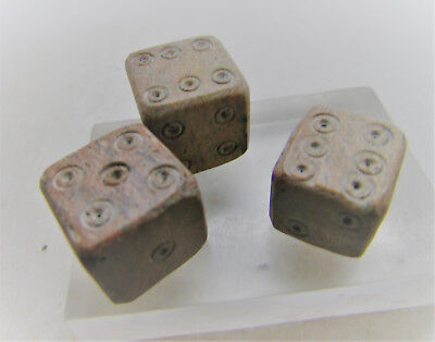 Lot Of 3 Ancient Roman Bone Gaming Dice Astragalus